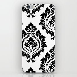 Decorative Damask Art I Black on White iPhone Skin