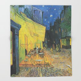 Cafe Terrace at Night by Vincent van Gogh Throw Blanket