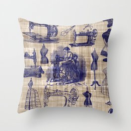 Vintage Sewing Toile Throw Pillow
