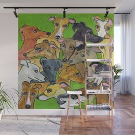 Greyhounds on green Wall Mural