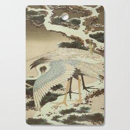 hokusai – two crane on a pine -bird,beak,plum,nature Cutting Board