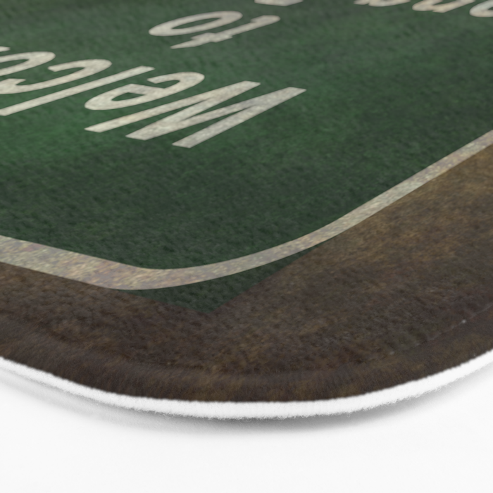 Welcome to Long Beach road sign illustration Bath Mat