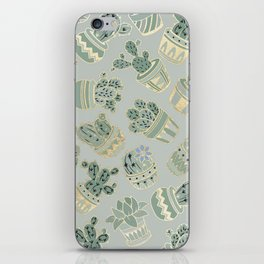 Mint green black faux gold cactus floral iPhone Skin