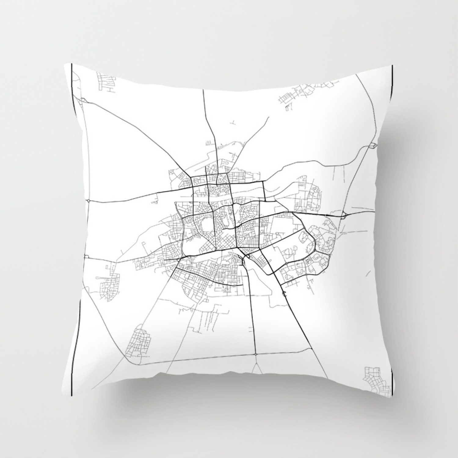Minimal City Maps Map Of Plovdiv Bulgaria Throw Pillow By