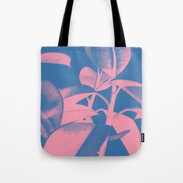 Rubber Plant pink and blue Tote Bag