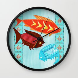 Native American River Folk Art Wall Clock