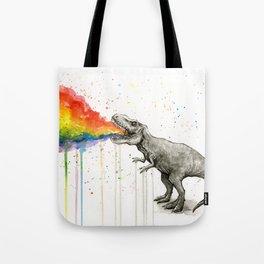 T-Rex Dinosaur Rainbow Vomit Taste the Rainbow Tote Bag