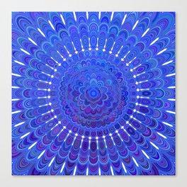 Blue Floral Mandala Canvas Print