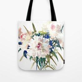 White Peonies, Asian Watercolor design Garden Peonies White lofral art Tote Bag