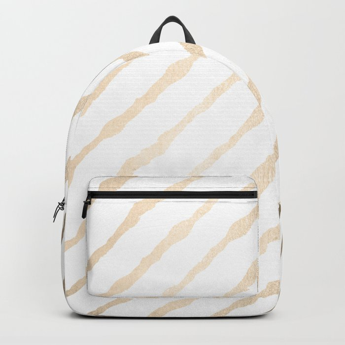 Simply Diagonal Stripes in White Gold Sands on White Backpack
