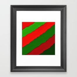 Bright Christmas Diagonal Stripes Framed Art Print