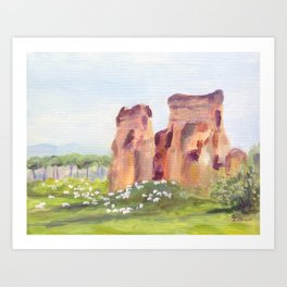 Rome, Italy - The Aqueduct and the Sheep Art Print