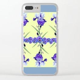 PURPLE WHITE IRIS & PANSIES GARDEN Clear iPhone Case