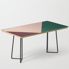 Burgundy and Green Geometric Coffee Table