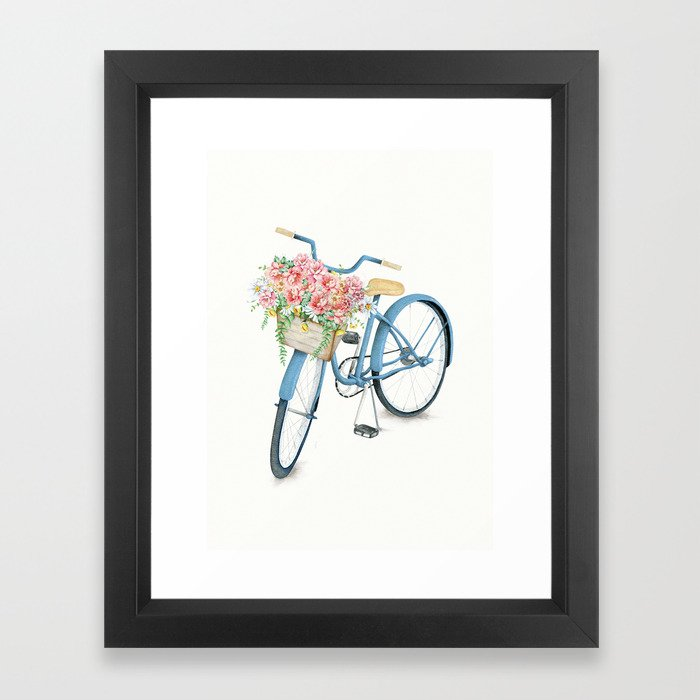 Blue Bicycle with Flowers in Basket Framed Art Print