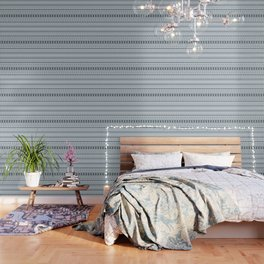 Aztec Stylized Pattern Gray-Blues & White Wallpaper