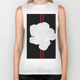 White Succulent On Black #decor #society6 #buyart Biker Tank