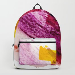 Pink Lemonade [2]: a minimal, colorful abstract mixed media with bold strokes of pinks, and yellow Backpack
