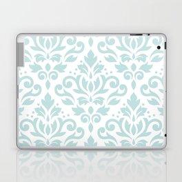 Scroll Damask Lg Pattern Duck Egg Blue on White Laptop & iPad Skin