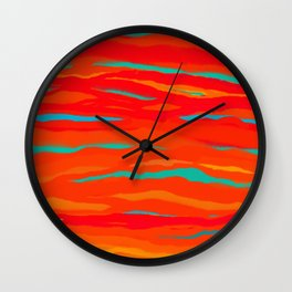 Ripped Turquoise Sunset Sky Wall Clock