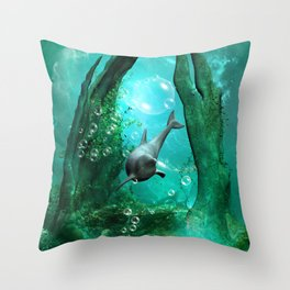Swimming dolphin Throw Pillow