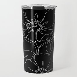 Botanical illustration one line drawing - Rose Black Travel Mug