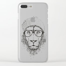 Cool lion (bw) Clear iPhone Case