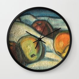 Fruit oil painting Wall Clock