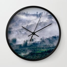 Foggy Mountain of Sa Pa in VIETNAM Wall Clock