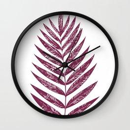 Simple Botanical Design in Dark Plum Wall Clock