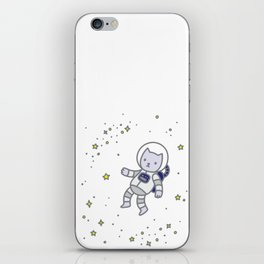 catstronaut cute cat astronaut in space with yellow stars for kids science nerd geeks iPhone Skin