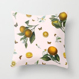 Oranges and Butterflies in Blush Throw Pillow