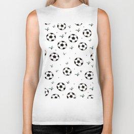 Fun grass and soccer ball sports illustration pattern Biker Tank