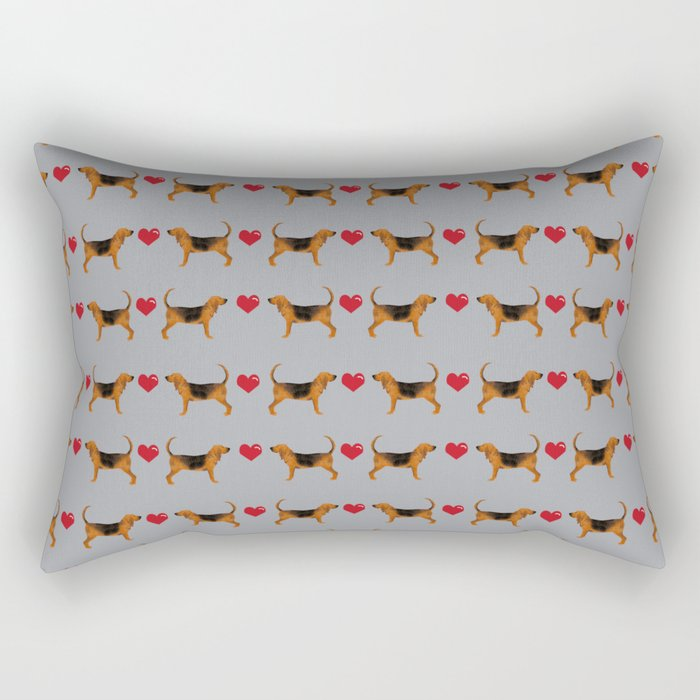 Bloodhound love hearts dog breed pet pattern hounds dog portrait Rectangular Pillow