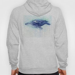 Humpback Whale Watercolor Mom and Baby Painting Whales Sea Creatures Hoody