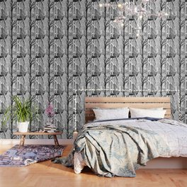 Cobble Hill Brooklyn Winter Black and White Brownstone Wallpaper