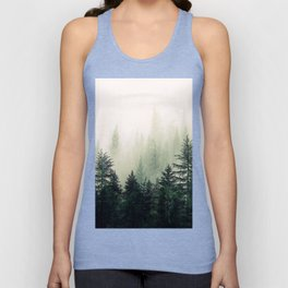 Foggy Pine Trees Unisex Tank Top