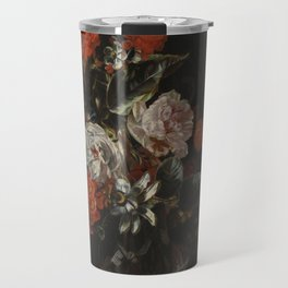 Jacob Campo Weyerman - Bouquet of flowers with roses, passion flower and bindweed - 1700-1720 Travel Mug