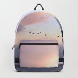 Uplifting: Geese Rise at Dawn on Lake George Backpack