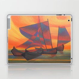 Red Sails in the Sunset Cubist Junk Abstract Laptop & iPad Skin
