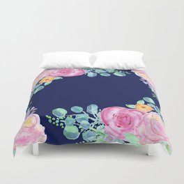 light pink peonies with navy background Duvet Cover