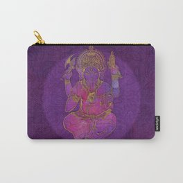 Ganesha hindu god watercolor gold purple art Carry-All Pouch