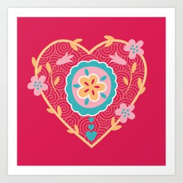 Bollywood Floral Heart Art Print