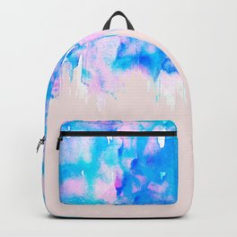 Girly Pastel Pink and Blue Watercolor Paint Drips Backpack