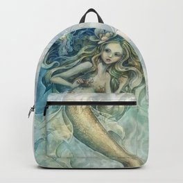 mermaid with Flowers in her hair Backpack