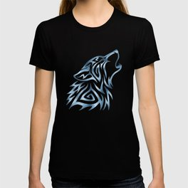 Tribal Wolf Howl Brushed Steel T-shirt