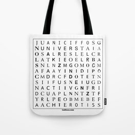 Typographic word search puzzle Tote Bag