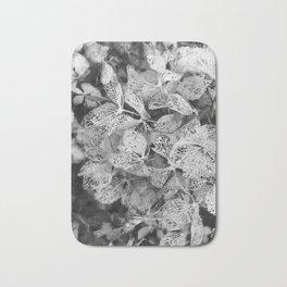 Winter Hydrangea in Black and White Bath Mat
