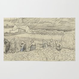 Landscape with Peasant Women Harvesting Rug