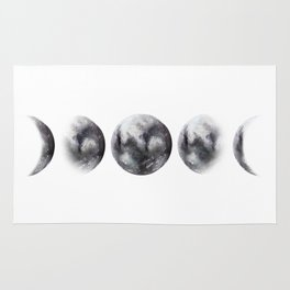 Moon phases watercolor painting Rug